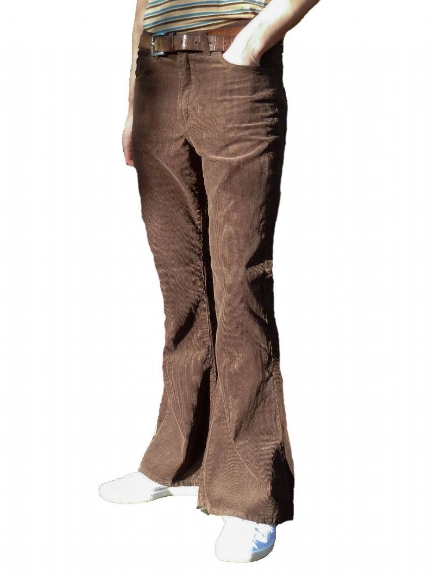 Classic High Rise Flares - Corduroy Bell Bottoms Pants - Brown
